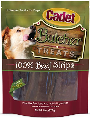 Cadet Beef Strips for Dogs, Butcher Treats, 8 Ounce, 12 Pack