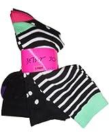 Betsey Johnson Women's Socks Black Combo (pack of 3)