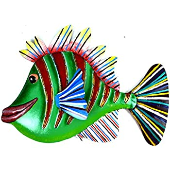 HUGE BEAUTIFUL UNIQUE NAUTICAL METAL FISH WALL ART GREEN RED