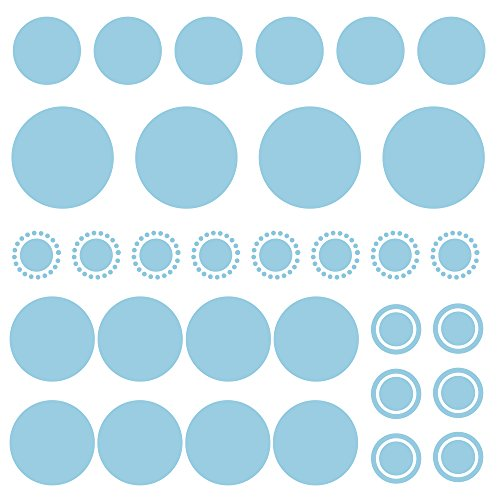 Bobee Polka Dot Wall Decals Peel and Stick Confetti Wall Stickers, Light Blue