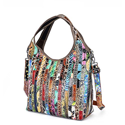 leather bag bag Handbags Multicolour Real Women's Black Totes Color Messenger Shoulder TfxqU