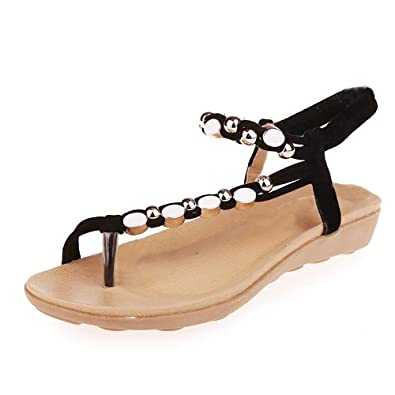 87cc545a1 BaZhaHei Women Summer Low Flat Heel Flip Flop Sandals Toe Post Shoes Beaded  Bohemia Leisure Sandals