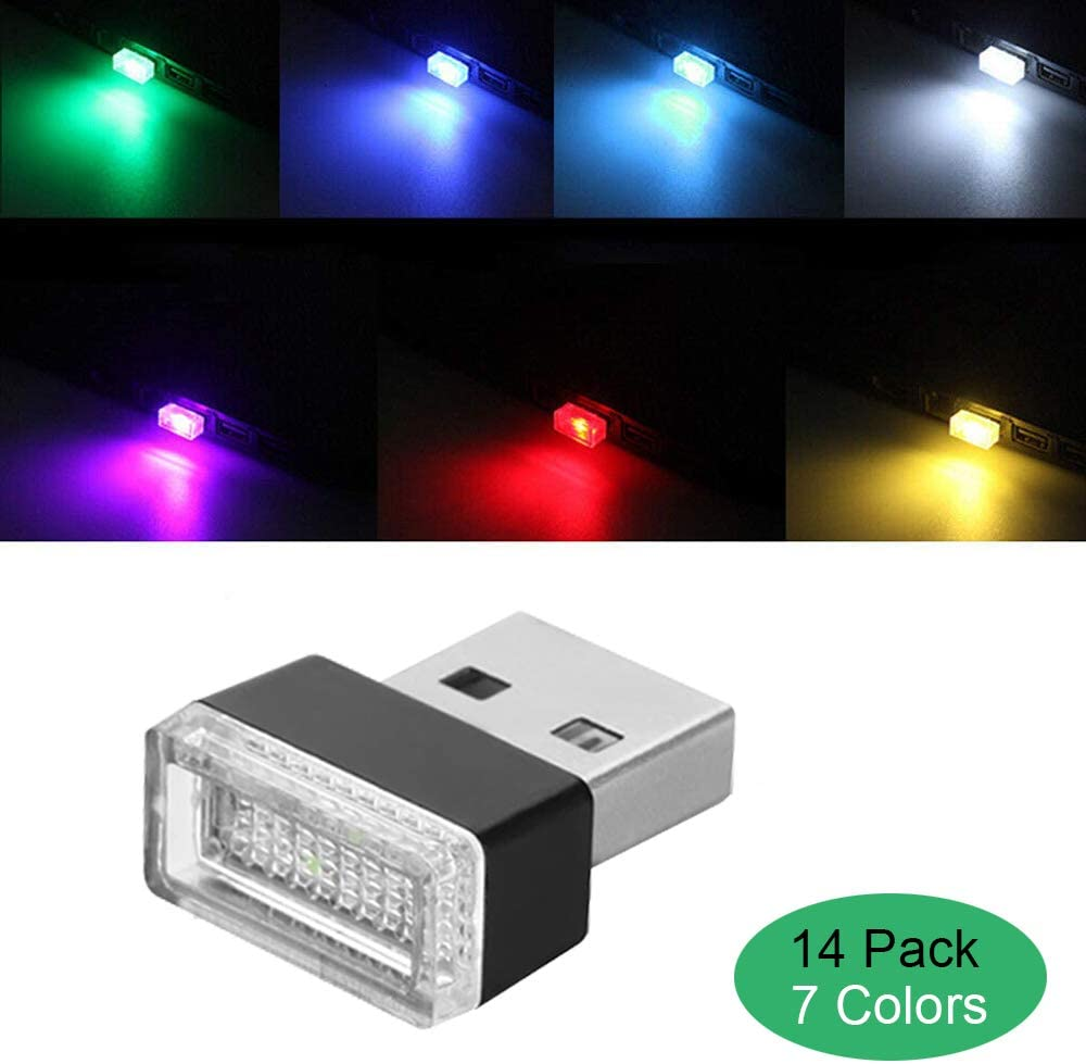 Night Light Mini Led Decoration Light Charging for All Cars Interior Led Lights Blue Lipctine 2 PCS USB LED Car Interior Atmosphere Lamp Ambient Lighting Kit