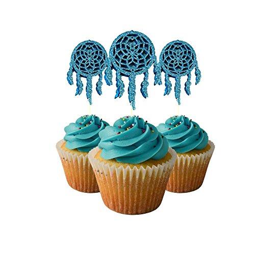 Slippers Dreams (Indian Dream Catcher Cupcake Topper 12 Pack Cupcake Topper Decoration Cake Glitter Foamy)
