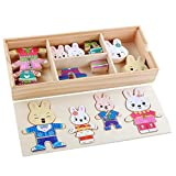 CCINEE 72 Pieces Wooden Puzzles Wooden Rabbit Family Dress Up Puzzle Games
