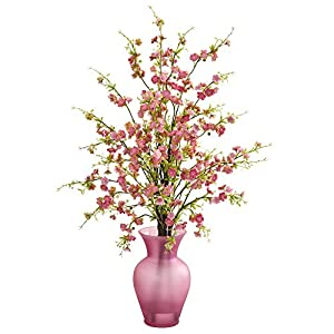 Nearly Natural 1590-PK Cherry Blossom Artificial Rose Vase Silk Arrangements Pink 5