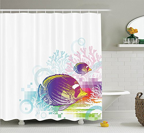 [Animal Decor Collection Colorful Squids Surrounded by Algae Swimming in the Ocean Pixel Featured Exotic Sea Graphic Polyester Fabric Bathroom Shower Curtain Set with Hooks] (Squid Costume Ebay)