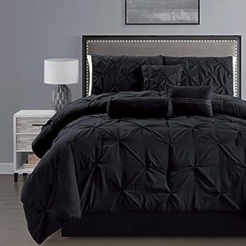 Amazon Com 3 Piece Solid Black Pinch Pleat Duvet Cover