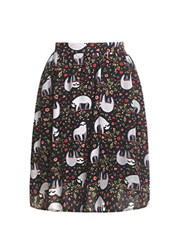 (LaVieLente Customized Sloth midi Skirt with Stretchable Waist Design Novel & Beloved Sloth Animal Pattern Clothing (Sloth, X-Small/Small))
