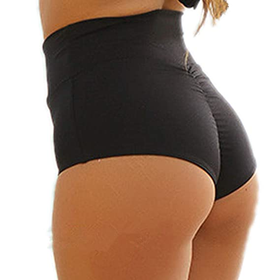 ca1be8d514c CENG MAU Womens Retro High Waisted Ruched Cheeky Bikini Bottoms Brazilian  Swimsuits Shorts(BK