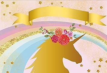 New Custom Backdrop 7x5ft Photography Background Unicorn Birthday Party Photo Backdrop Colorful Rainbow Baby Shower Name Banner Unicorn Head with Flowers Sweet Pink Girls Photo Portrait Studio