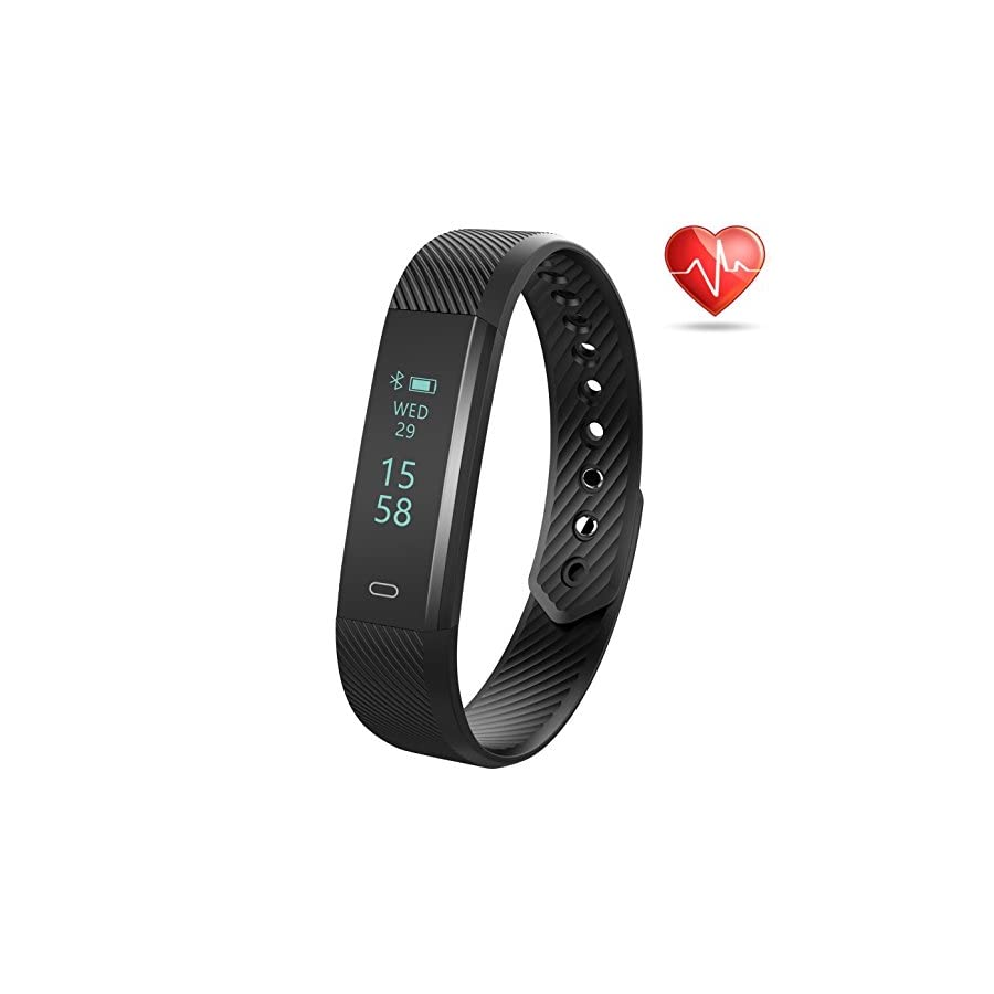 Weton Fitness Tracker, Bluetooth4.0 Waterproof Smart Bracelet Watch with Heart Rate Monitor Touch Screen Wristband Sport Activity Tracker Pedometer Sleep Monitor Calorie Counter for Android & iPhone