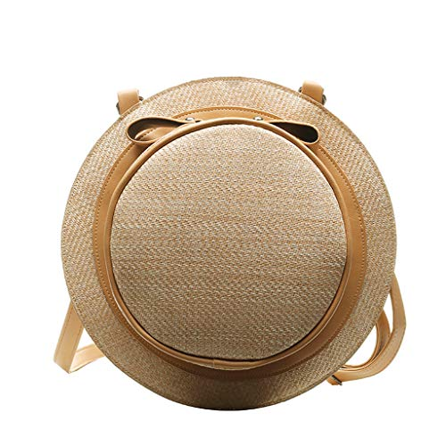 Round Rattan Bags Handmade Wicker Woven Backpack Straw Bow Handbags Circle Hat Shape Boho Shoulder Messenger Summer Beach PU Leather Strap Retro Crossbody for Women
