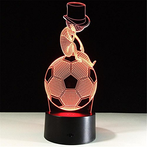 DMMSS Soccer 3D Table Lamp Personalized Creative Cool Decoration Prizes Birthday Gift Led Visual Night Light (Multi-Color Dimming) by DMMSS