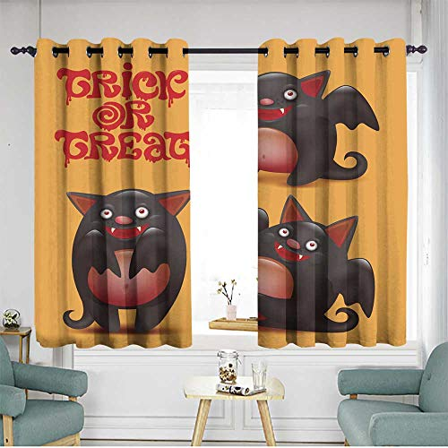 Sillgt Window Blackout Curtains Funny bat caracters Set Halloween Card Insulated with Grommet Curtains for Bedroom W 63