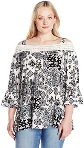 Lucky Brand Women's Plus Size Paisley Fringe Neck Blouse