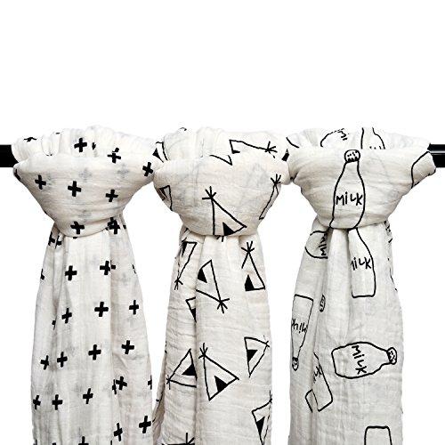 Qav Juh 3 Pack Baby Muslin Baby Swaddle Wrap Blankets, 47x47 inches Organic Cotton Muslin Receiving Blanket for Unisex Shower Gift (Cross & Teepee & Milk Bottle)