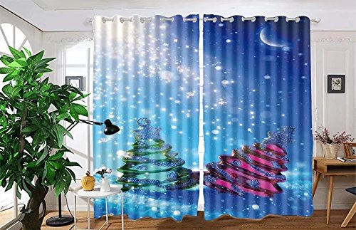 "Price comparison product image vanfan 2 Panel Set Digital Printed Blackout Window Curtains for Bedroom Living Room Dining Room Kids Youth Room Window Drapes(W108x L95"",  two Christmas tree on blue night ba)"