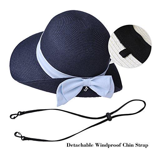 SiggiHat Womens Sun Summer Straw Beach Hat Floppy Fashion Stylish Travel Panama Fedora Hats Foldable UV White by SiggiHat (Image #5)