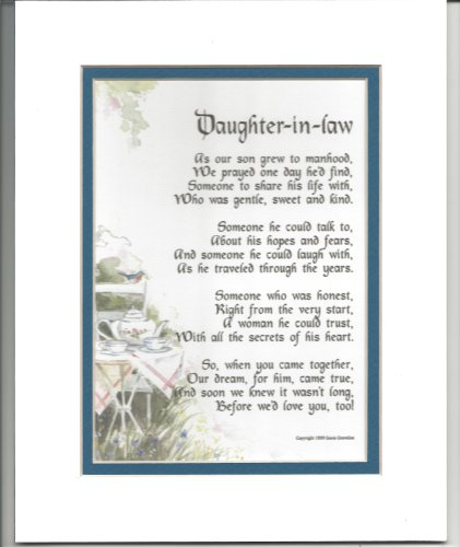 Daughter-in-law Gift Present Poem For Bridal Shower Or Birth