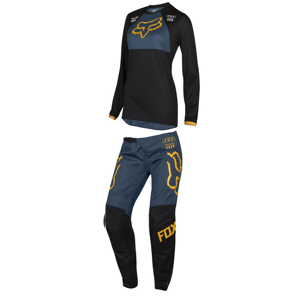 Fox Racing 2019 Womens 180 MATA DRIP Jersey and Pants Combo Offroad Riding Gear Black/Navy Medium Jersey/Pants 10W Under Pressure Entertainment