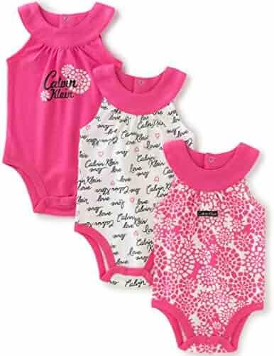 Calvin Klein Baby Girls' Assorted Long Sleeve Bodysuit (Pack of 3)