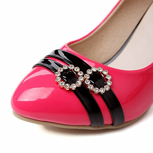 Carol Shoes Chic Womens Cuff Rhinestone Assorted Colors Elegance High Stiletto Heel Pumps Shoes Rose Red HZvTnZefvE