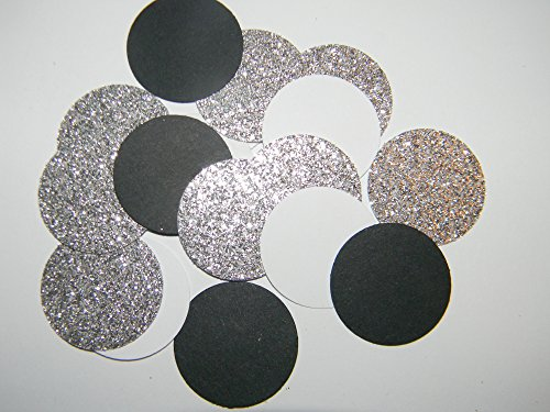 100-black-white-and-silver-glitter-1-inch-circle-confetti-hand-punched-die-cuts-wedding-scrapbooking