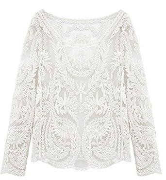 Frauen Sexy Semi Durchsichtig Langärmlig Stickerei Blumen Spitze Häkel Top  Bluse - Weiß, Large aad5498729