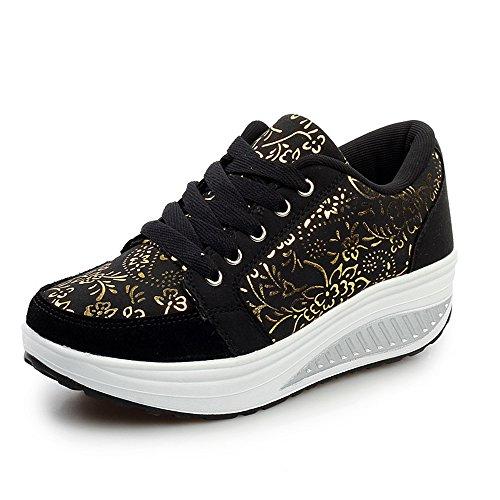 Fitness Noir Fashion Femme Balançoire Running Sport De Gym Chaussures Lacet Baskets Eagsouni® Casual Anti choc 4a8x6