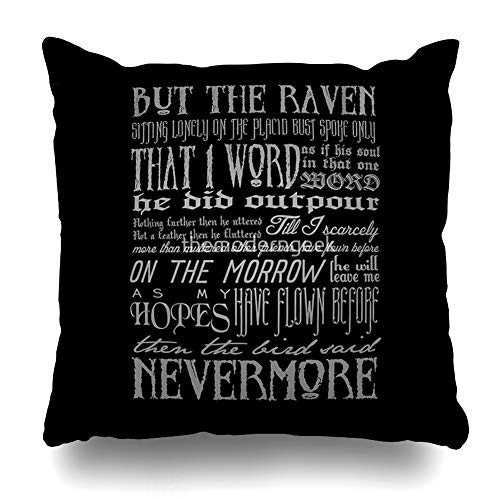 Ahawoso Throw Pillow Cover Square 18x18 Inches Edgar Allan Poe Raven Typography Decorative Pillow Case Home Decor Pillowcase -