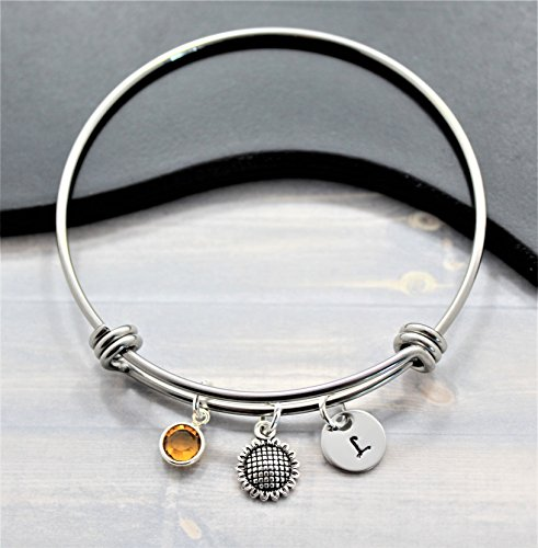 Sunflower Bangle Bracelet - Silver Sunflower Birthday Gifts - Sunflower Wedding Jewelry - Personalized Birthstone and Initial - Fast Shipping