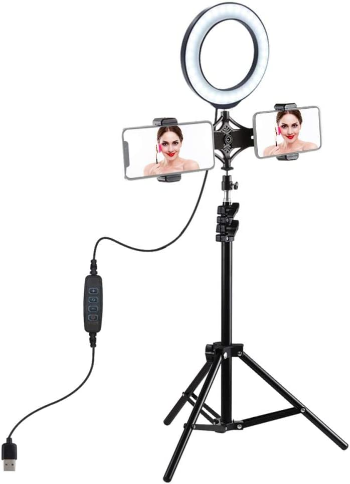 Ciglow LED Ring Light 6.2inch Ring Light with 3 Light Modes for Live Streaming /& YouTube Video with Tripod Stand /& Phone Holder