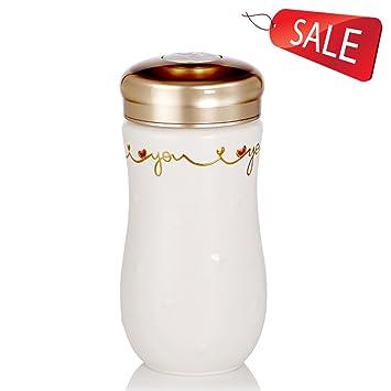 Taza Botella Termo Vidrio Porcelana Taza Taza Portable Blanco Oro Pintado a Mano Esmalte Oficina hogar