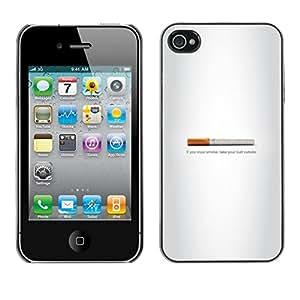// PHONE CASE GIFT // Duro Estuche protector PC Cáscara Plástico Carcasa Funda Hard Protective Case for iPhone 4 / 4S / Butt fumadores - Gracioso /