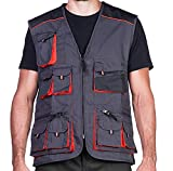Multi pocket Waistcoat Mens Safety Work vest Black and Orange for Construction workers, Mechanics, Electricians Quality product (S)