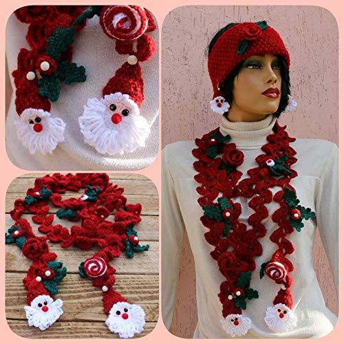 (Crochet Santa Necklace, Red Necklace Scarf, Lariat Necklace, Unique Christmas Gift, Santa Scarf, Red Christmas Scarf, Crochet Jewelery, Lariat Necklace, Holly Berry, Santa Necklace )