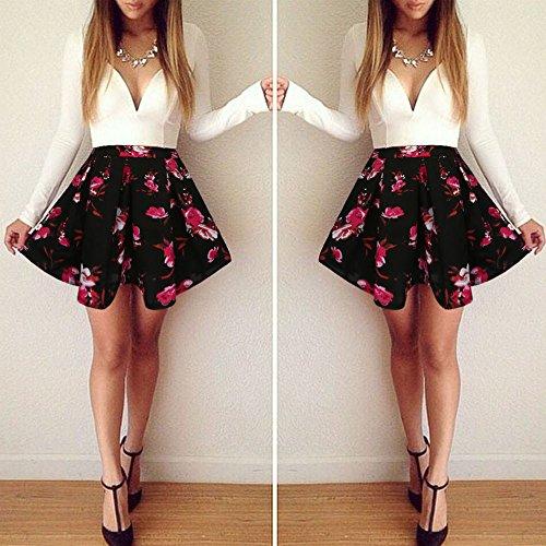 SKY Lovely !!!!Mujer La Sra hechizo vestido estampado de colores V-Neck Dress Evening Party Dress blanco