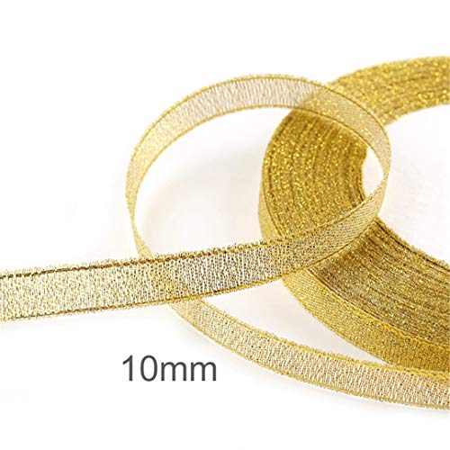 10Mm 15Mm 25Mm Metallic Gold Silver Glitter Ribbon Christmas Wedding Party Belt Decoration Accessory Organza Ribbon 10mm Gold