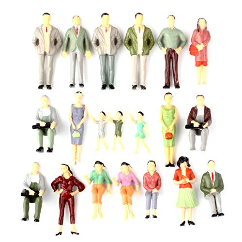 Iceyon 20pcs G Scale Model People Painted Passenger Figures Train Architectural Diorama Miniature Scenery Layout (Mixed Poses 1:25)
