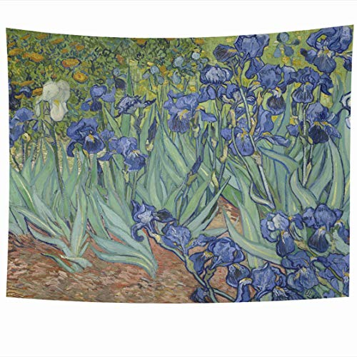 AlliuCoo Wall Tapestries 60 x 50 Inches Irises by Vincent Van Gogh 1889 Dutch Post Impressionist Oil Canvas This Garden Home Decor Wall Hanging Tapestry Living Room Dorm from AlliuCoo