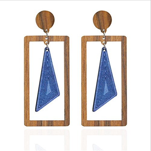 Vintage Wood Chunky (Triangle Wood Vintage Handmade Ethnic Tribal Bohemian Chunky Dangle Earrings Stud Boho Statement Jewelry)