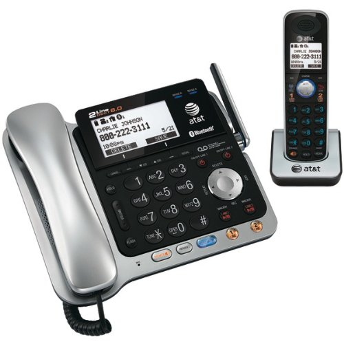 ATT TL86109 DECT 6.0 2-Line Connect-to-Cell Corded/Cordless Bluetooth Pho...