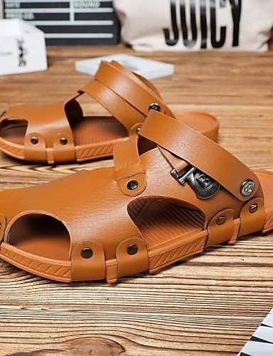 ShangYi Herren Sandaletten Herrenschuhe-Lässig-Sandalen-Kunstleder-Schwarz / Khaki Khaki