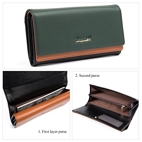 [Clearance] FIGESTIN Women Rfid Blocking Cowhide Leather Wallet With Zipper Large Capacity Credit Card Holder Evening Clutch Purse by FIGESTIN (Image #2)