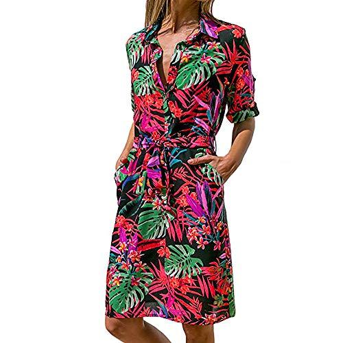 DEATU Hot Sale! Ladies Dress Women Casual Striking Print Roll up Long Sleeve Button Down Tie Waist in Mini Dress(Multicolor,S)