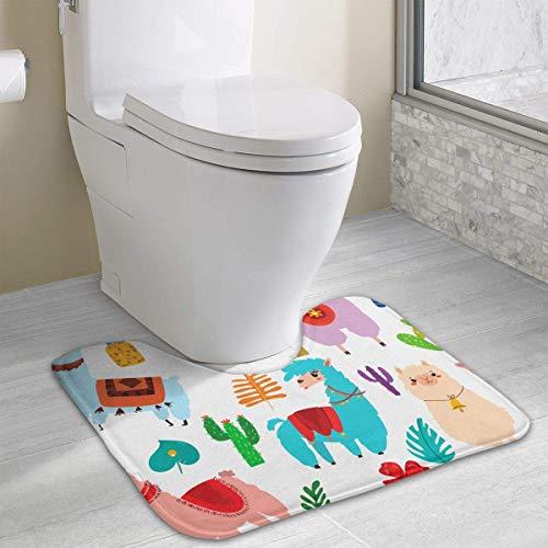 Bennett11 Llama, Alpaca, Cactus and Leaves U-Shaped Toilet Floor Rug Non-Slip Toilet Carpets Bath Mats Rug 19.2″x15.7″