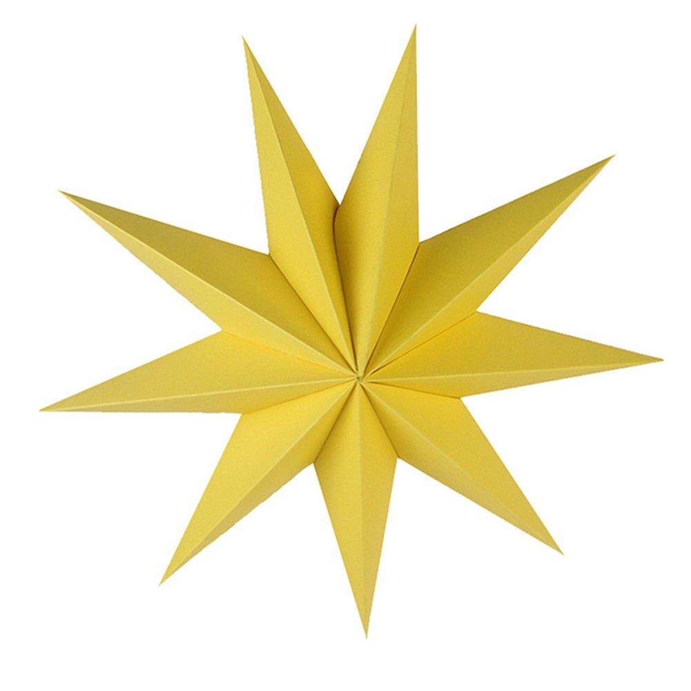 Pengyu Papel de estrella para colgar (30 cm), diseño de estrellas, para habitación de los niños, fiesta o aula, Amarillo, talla única