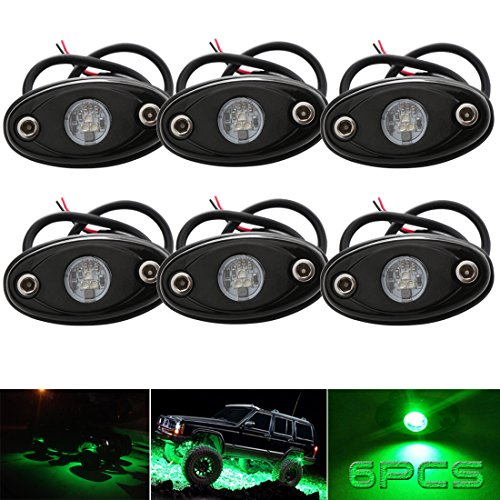 (LEDMIRCY LED Rock Lights Green Kit for JEEP Off Road Truck ATV SUV Car Boat Auto High Power Underbody Glow Neon Trail Rig Lamp Underglow Lights Waterproof Shockproof(Pack of 6,Green))