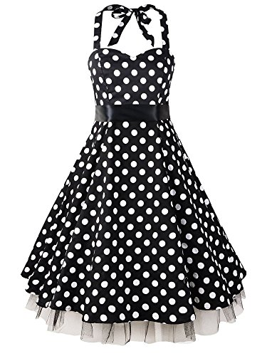 LUOUSE-Womens-1950s-Halter-Polka-Dot-Vintage-Rockabilly-Dress